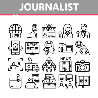 Journalist reporter collection icons set