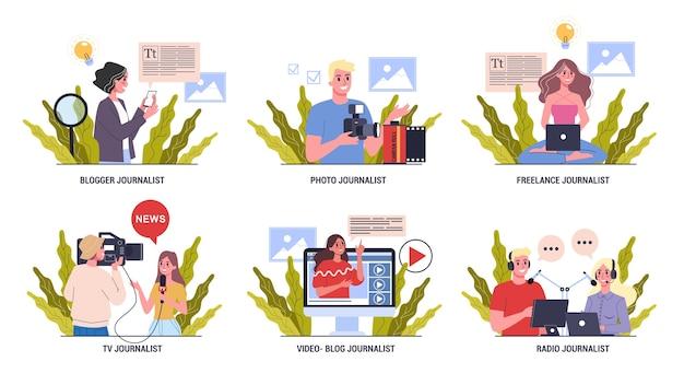 Набор журналистов. профессия сми. репортер с микрофоном. фото и радиожурналистика. иллюстрация
