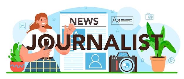 Journalist typographic header newspaper internet and radio journalism