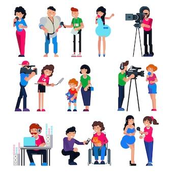 ジャーナリストのベクトルカメラマンのキャラクターとテレビの記者がニュースやプレスインタビューを放送