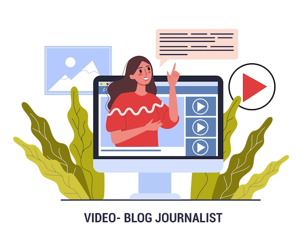 Journalist video blogger. mass media profession. woman share content