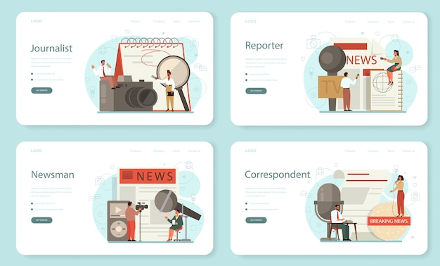 Journalist web banner or landing page set. tv reporter with