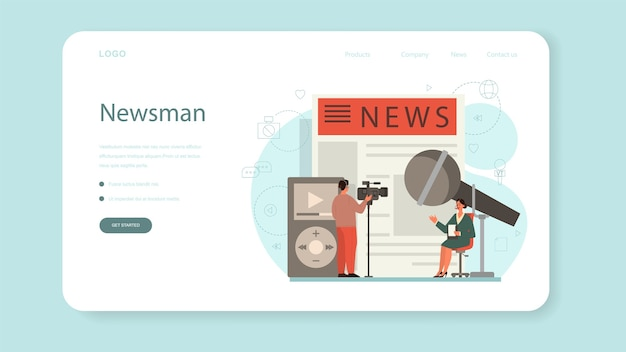 Journalist web banner or landing page. tv reporter with