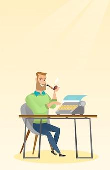 Journalist working on retro typewriter.