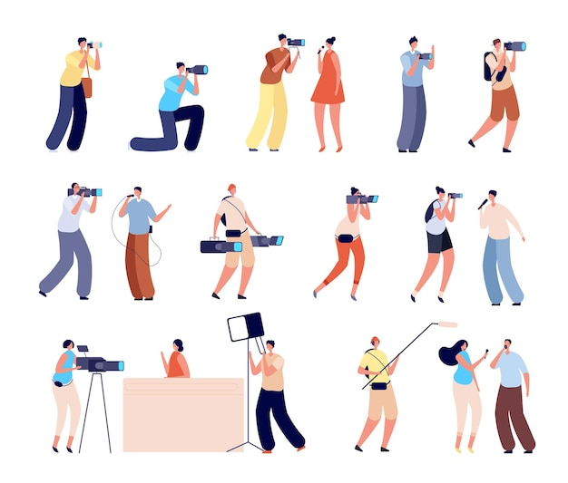 Journalists characters. interview, woman talking tv camera. isolated cameraman photographer, creative news makers working vector illustration. news people and tv journalist with camera