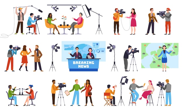 Journalists. newscaster and journalist profession, media record. television industry. press interview with cameraman talking to camera characters