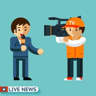 ジャーナリストは放送中のビデオレポートを撮影します。ライブニュース。
