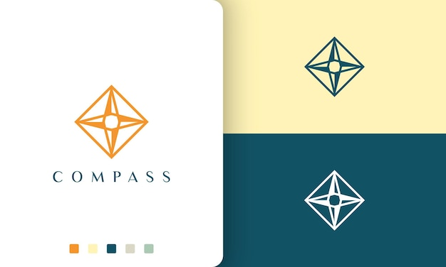 Journey or adventure logo vector design with simple and modern compass shape