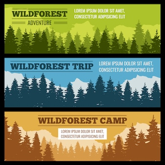 Journey, camping vector banners set