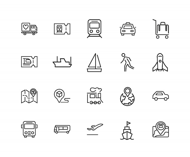 Journey icons. set of twenty line icons. train, bus, plane. journey concept.