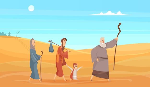 聖書の登場人物の旅。物語の歴史的背景神聖な人々は、風景の神のベクトル図からデザートの風景に行きます。伝統的なキリスト教の聖書の伝説、砂漠の旅