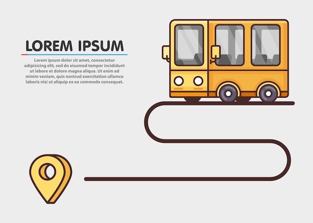 Путь путешествия. желтый автобус и пункт назначения.