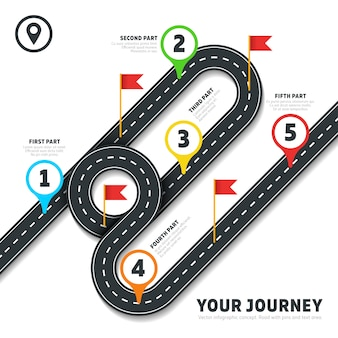 Путешествие на дорожной карте бизнес-картография инфографический шаблон с булавками и флагами. карта с дорогой