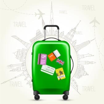 世界一周旅行-スーツケースと世界の名所