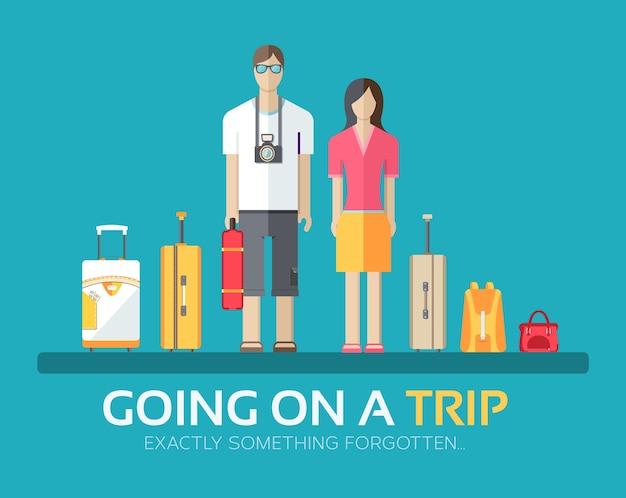 Путешествие в отпуск багажа в плоский дизайн фона концепции