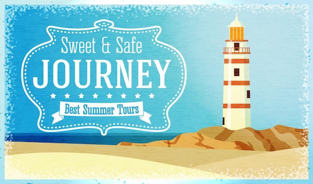 Реклама путешествий и туров с океанским маяком на скале. вектор