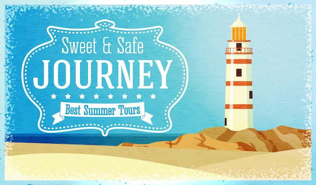 Journeys and tours advertisement with ocean beacon on the rock. vector