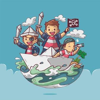 바다에서 배에 어린이 해적의 기쁨 만화 그림