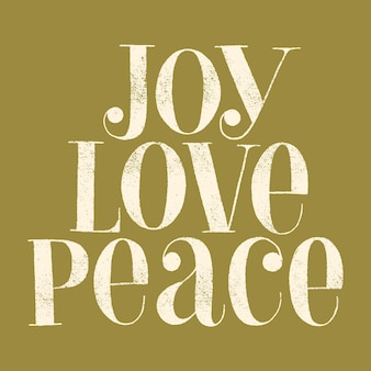Joy love peace handdrawn lettering quote for christmas time