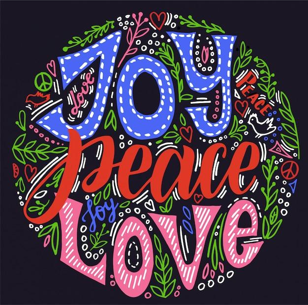 기쁨의 평화 사랑. 손으로 쓴 크리스마스 인사말 카드입니다. 핸드 레터링과 꽃 화 환 휴일 초대. 검정색 배경에 밝은 글자.