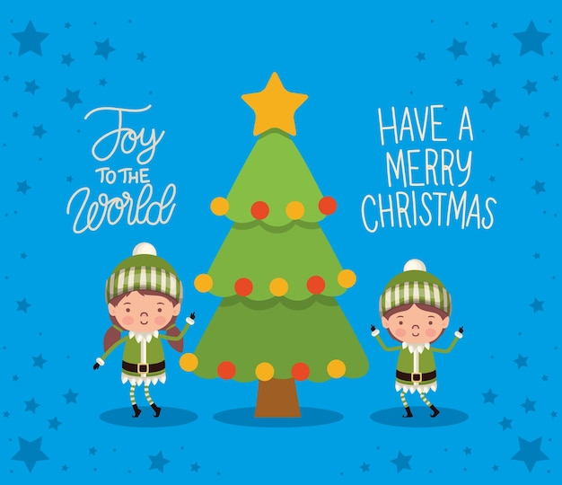 Joy the word, have a merry christmas lettering with two elfs and one tree.