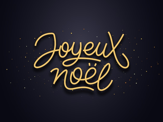Joyeux noel calligraphic line art typography
