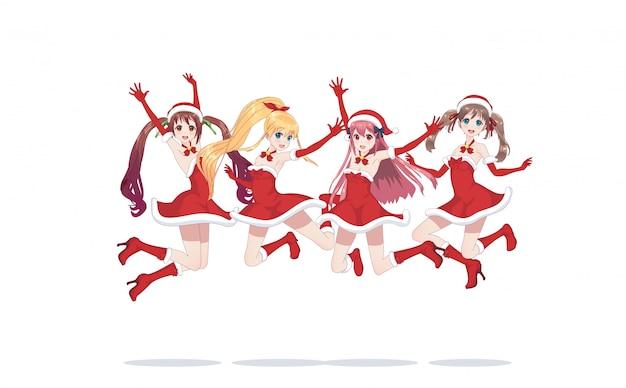 Joyful anime manga girls as santa claus in a jump