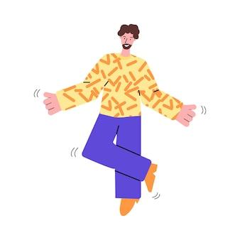Радостный бородатый мужчина танцует, слушая музыку эскиз векторные иллюстрации изолированные