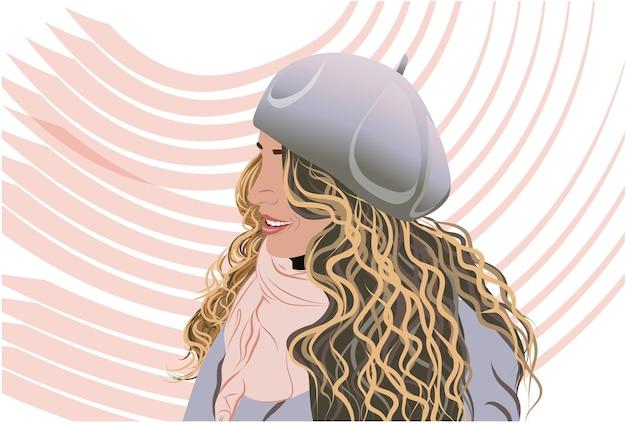 Радостная блондинка, одетая в серый капот пальто и розовый шарф