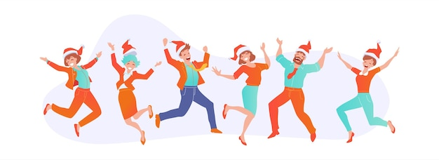 Joyful business people jumping in santa claus hats