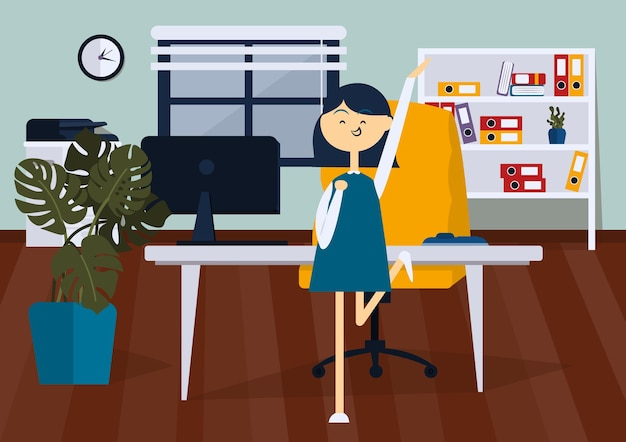 Joyful businesswoman jumping in office room. front view. color vector cartoon illustration