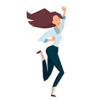Радостный скакать коммерсантки. вид сбоку. цветные плоские векторные иллюстрации шаржа, изолированные на белом фоне