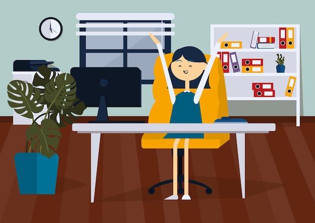 Радостный бизнесвумен, сидя на офисном стуле, она подняла руки цветной векторный мультфильм