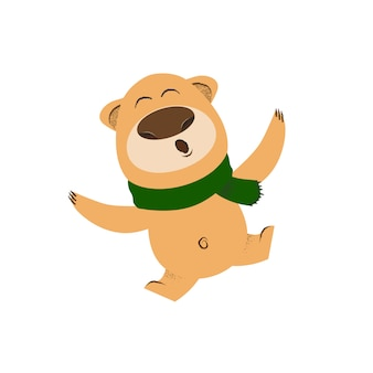 Joyful cartoon bear in green scarf dancing