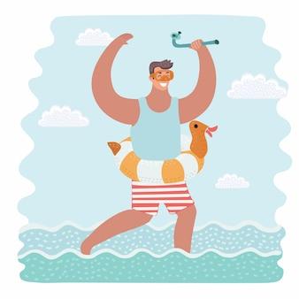 Радостный кавказский мальчик нося раздувное резиновое кольцо и маску для подводного плавания с трубкой. малыш с плавательным кольцом, маской для снорклинга и трубкой. эскиз иллюстрации шаржа на белом фоне.