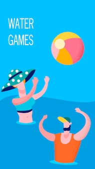 Joyful couple playing water game banner template