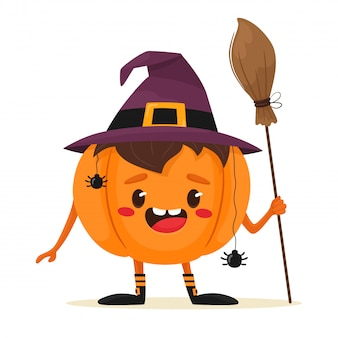 Joyful and cute halloween pumpkin with a witch's broom in hand. happy halloween. illustration in flat cartoon style.