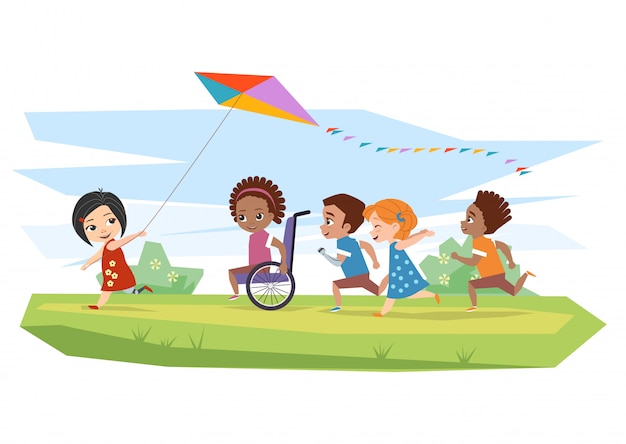 Joyful disabled children and healthy run and run kite outdoors
