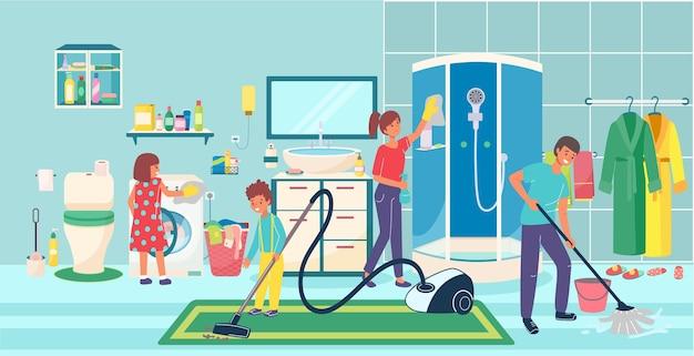 Радостная семья, уборка ванной