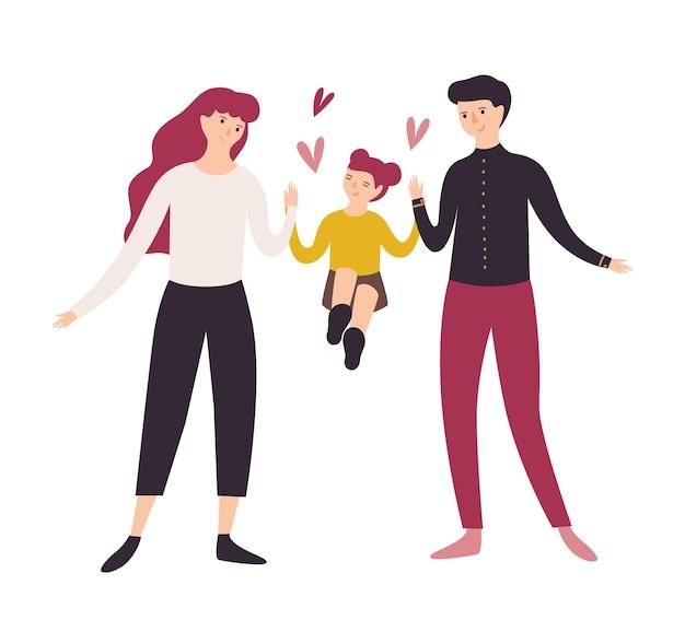 즐거운 아버지, 어머니와 딸이 함께 걷는. 웃는 아빠, 엄마와 손을 잡고 그들의 어린 소녀