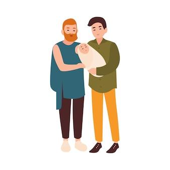 うれしそうな同性愛者のカップルが一緒に立って、幼児の子供を保持しています。現代の同性愛者のパートナーまたは配偶者と子育て。白い背景で隔離のフラットの漫画の男性キャラクター。図。
