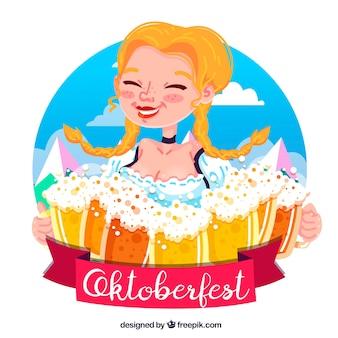 あまりにも多くのビールマグカップを持つ愉快なドイツの女性