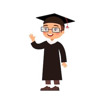 Радостный выпускник в выпускном платье и кепке