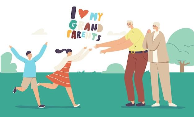 조부모를 만나는 즐거운 손자 캐릭터. 행복한 가족 방문 할아버지와 할머니