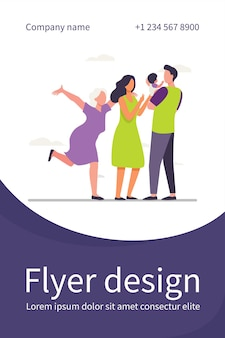 Joyful grandma an young parents couple enjoying baby. dad holding kid in arms flat flyer template