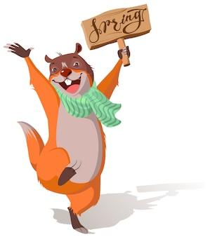 Joyful groundhog jumping and welcomes spring