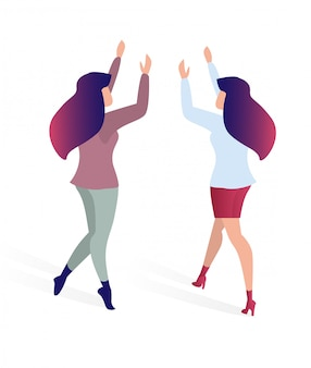 Иллюстрация вектора радостных друзей встречи плоская.