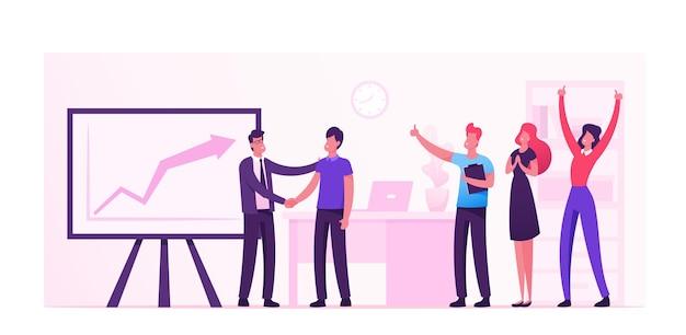 성장하는 그래프와 함께 거대한 모니터에 기뻐하는 즐거운 회사원. 만화 평면 그림