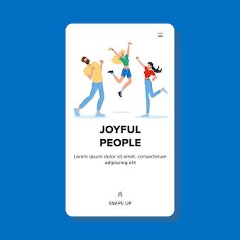Joyful people celebrate dancing and jumping
