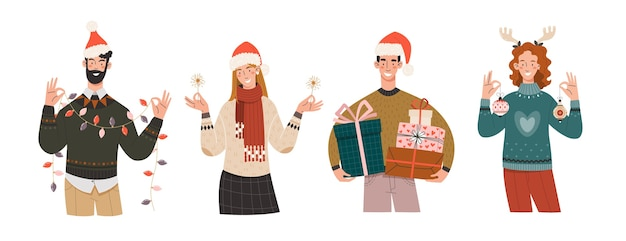 Joyful people in winter clothes are preparing for the new year and christmas.